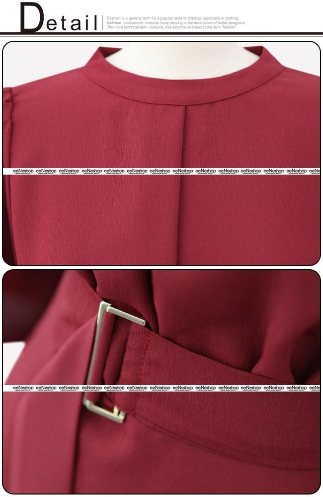 ★送料無料★ノーカラー ウエストベルト タック フレアワンピース レディース 韓国ファッション ワンピース Tシャツ バッグ リュック パーカー