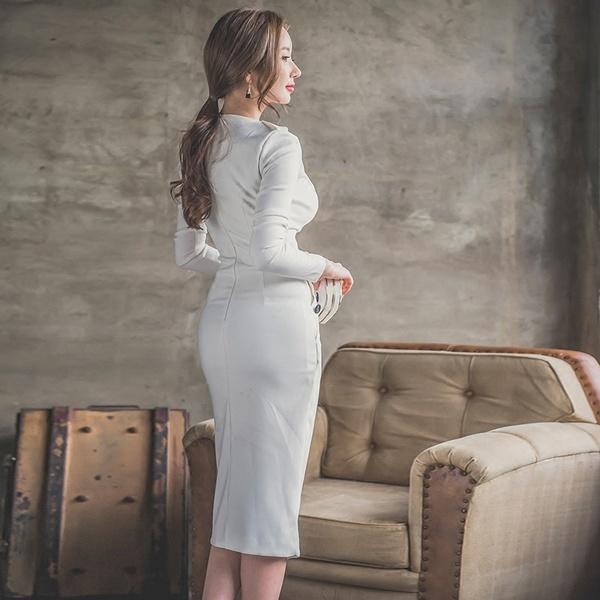 2016年秋冬新作深VネックOL気質長袖ミドルロングタイトスカート着やせタイプセクシーワンピース・レディースワンピース大きいサイズ小さいサイズ