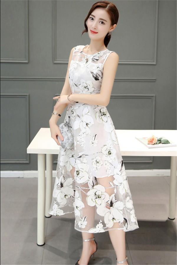 レディースワンピース 韓国無地 スリム 韓国のファッション  ロングスカート 丸首 ノースリーブワンピース  プリントワンピース  ハイセンス 着心地いい おしゃれ 夏 スリム セール★ レディースワンピース