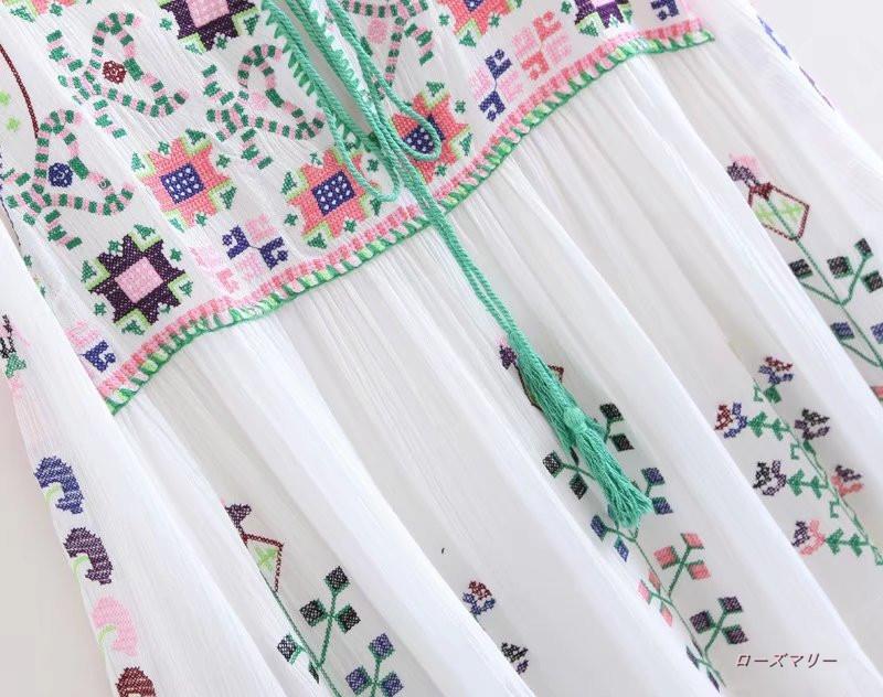 ボヘミアの刺繍レースプーケット島のリゾート花ジプシーのマキシワンピ スイート 花柄 ビーチワンピース ロングワンピース マキシワンピ かわいい ベーシック --QQ1131