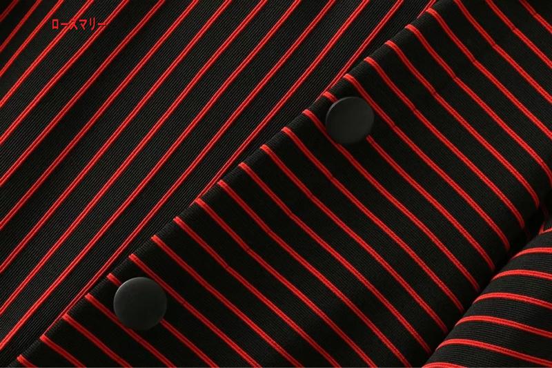 【ローズマリー】側面斜め掛け飾ストライプ腰ワンピース秋冬ゆったり袖T長ニットワンピース クルーネック ロングワンピース ニットワンピース-QQ4938