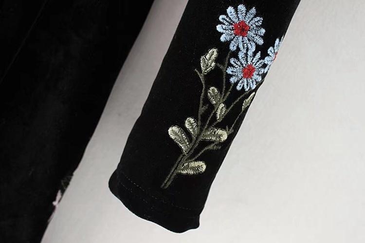 2018春新型、百搭、修身、長めで、欧米、ビロード、刺繍、着物のワンピース