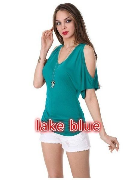 女性のファッションセクシーなVネックコールドショルダーコットントップスTeeカジュアルソリッドカラーシャツ女性用