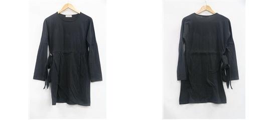 共布ベルト付き チューリップスカート 切り替え ミニワンピ  F 661440  【直送品の為、代引き不可】