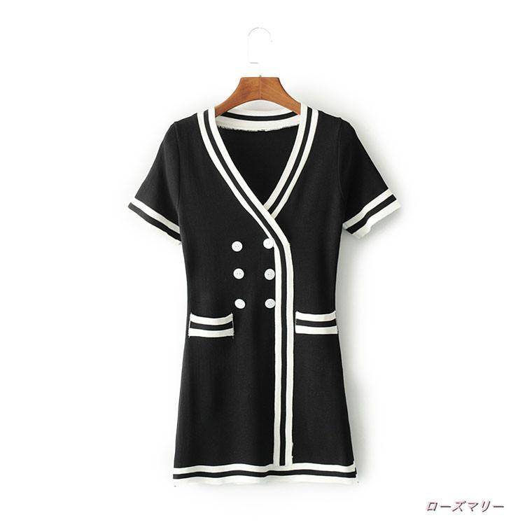 【ローズマリー】秋服をつづり合わせてカジュアル気質女装新品ダブルボタン色縞vネックニットワンピース薄セーターでロングスカート 半袖ニットワンピース  ベーシック-QQ1601