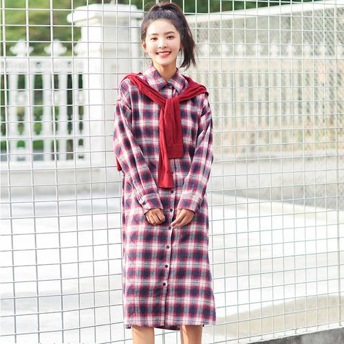 韓国ファション秋チェック柄シャツワンピース ロングシャツ チェックシャツ
