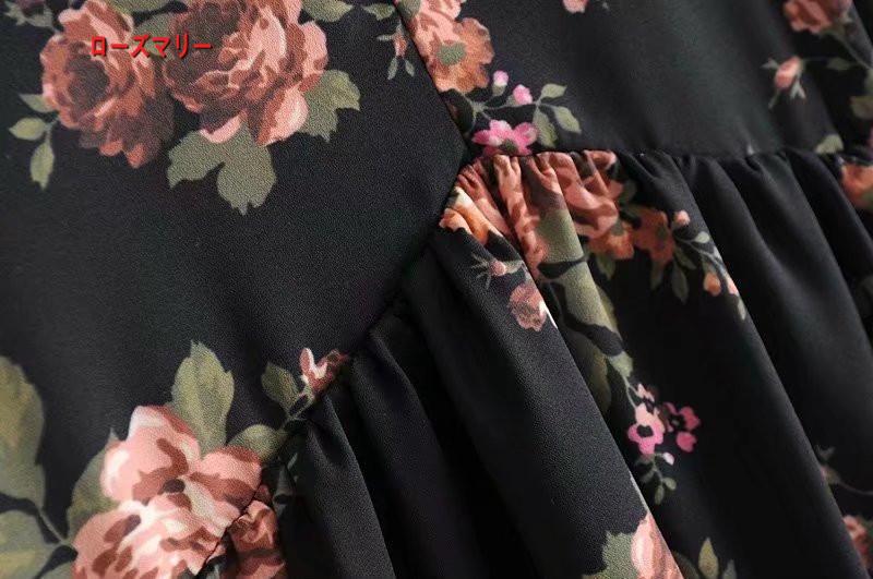 【ローズマリー】欧米風のレースリボン飾係いるミニのワンピース スイート 花柄 ヴィンテージ調 ワンピース ベーシック -R285