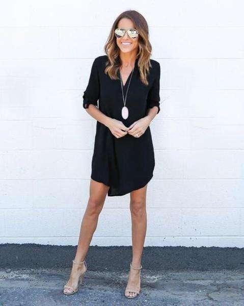 新しいファッション女性のキャップスリーブストレッチシフォンカジュアルシャツミニドレスベルト付き