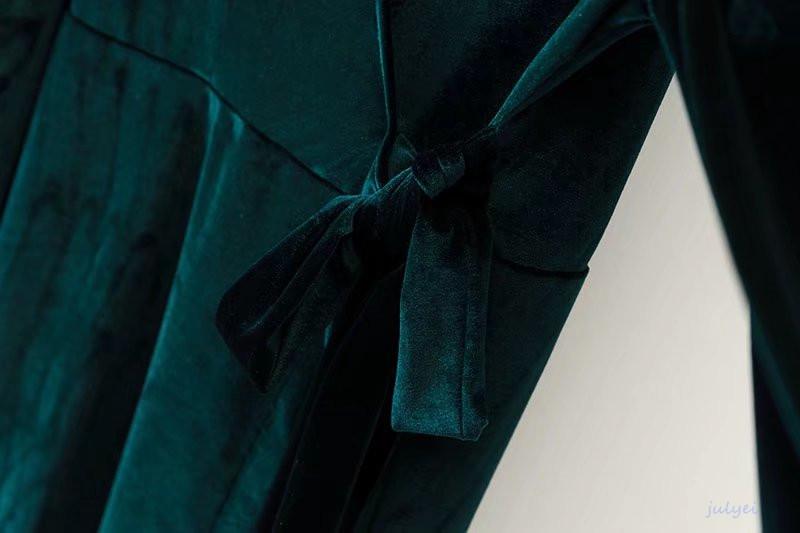 欧米風秋冬Vネックベルベットワンピース 長袖 ロングワンピース ストラップ結び 着やせ 体型カバー  おしゃれ