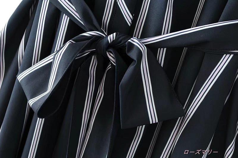 【ローズマリー】ストライプのシャツ式ワンピース ストライプ ヴィンテージ調 ロングワンピース かわいい 大人気-QQ2404