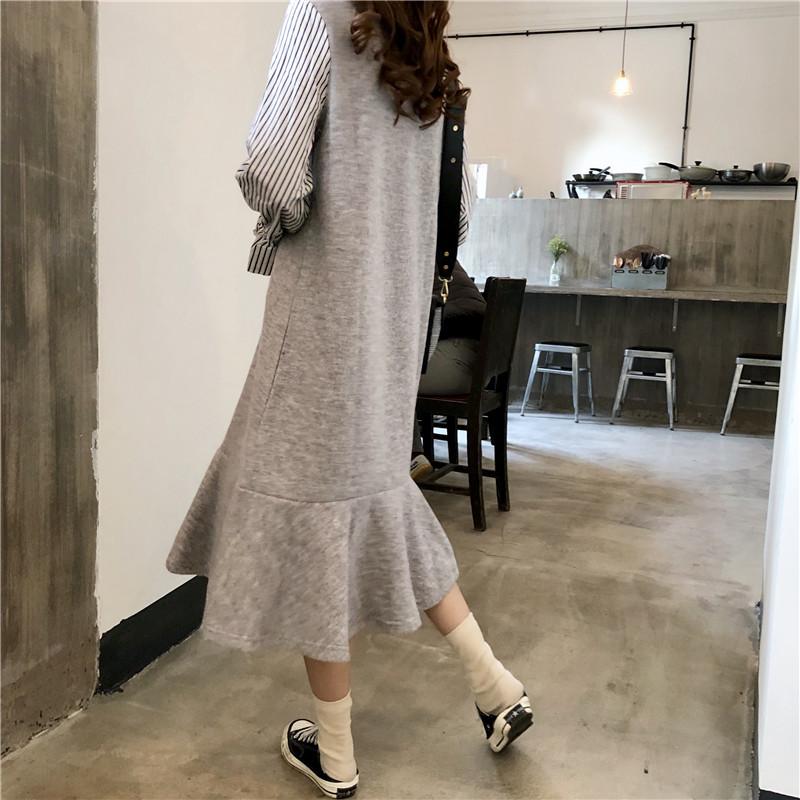 [55555SHOP]韓国ファッション 秋色ロング秋・冬ニットベスト+シフォンワンピースセット