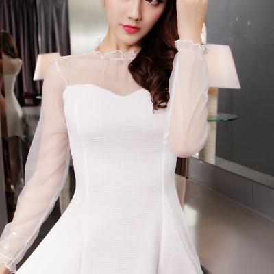 秋冬 チュール袖 セクシー Aライン ワンピース シンプル レディーズ女性 カジュアル ファッション 合わせやすい