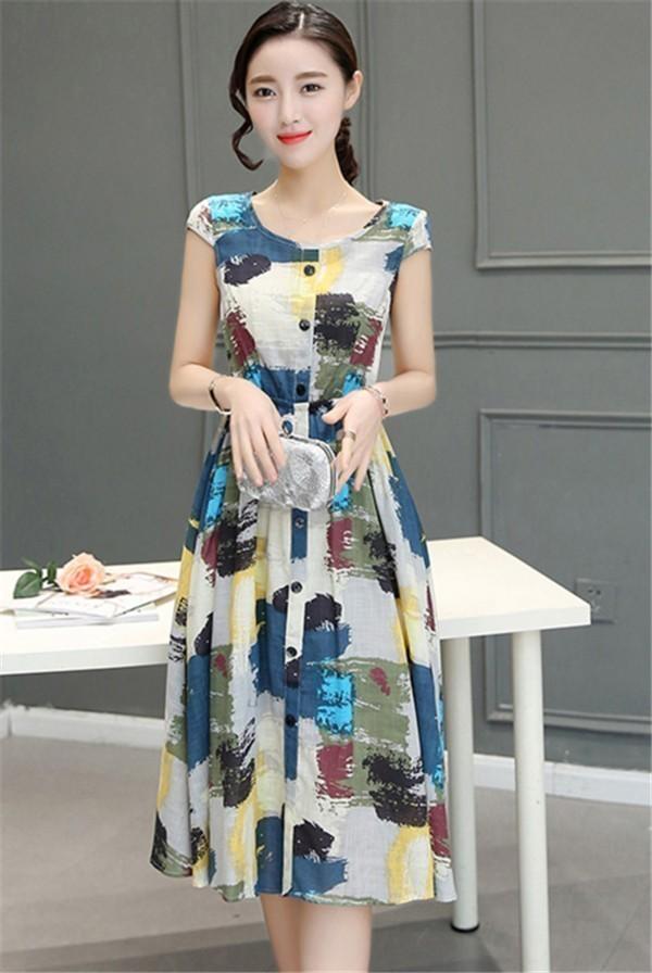 レディースワンピース 韓国無地 スリム 韓国のファッション  ロングスカート 丸首 麻綿ワンピース  プリントワンピース  ハイセンス 着心地いい おしゃれ 夏 スリム セール★ レディースワンピース