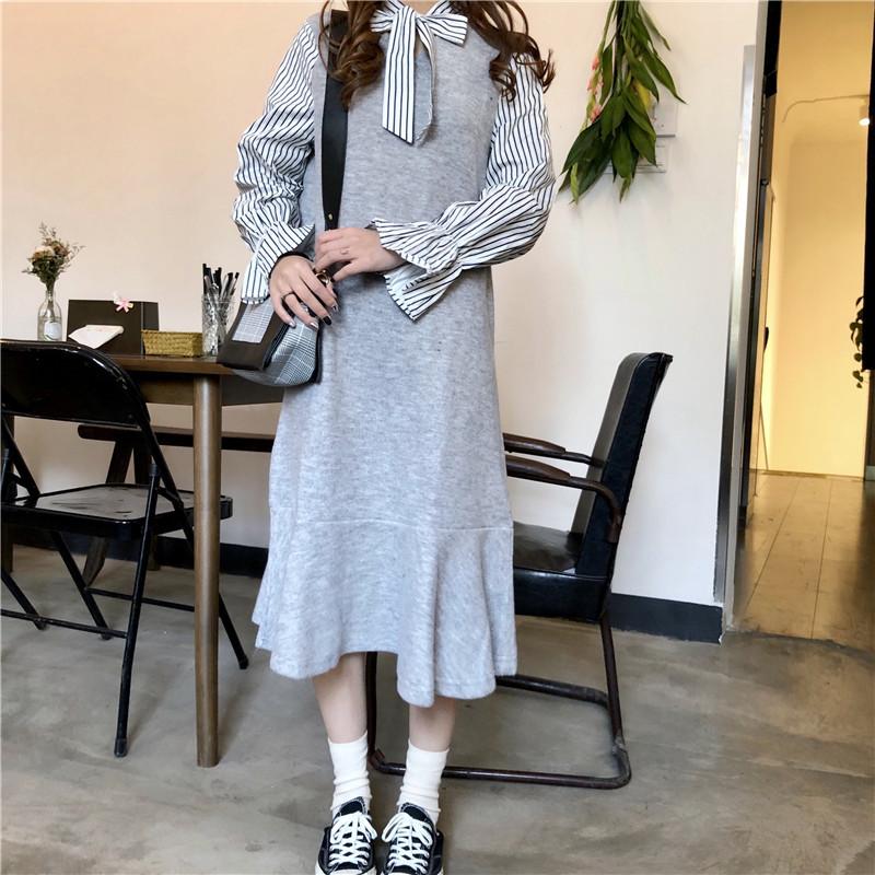 韓国ファッション 秋色ロング秋・冬ニットベスト+シフォンワンピースセット