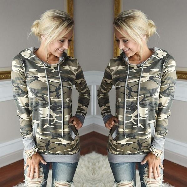 ファッション女性冬大きなサイズのカモフラージュパーカースポーツスエットシャツレディースジャンパーウォームプルオーバートップスM