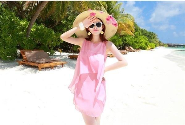 レディースワンピース ビーチワンピース 砂浜 無地 シフォン ファッション ハイセンス 着心地いい おしゃれ 夏 レディースワンピース