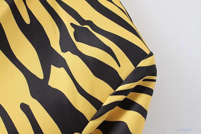 欧米風レディース 虎柄 バックレス メタルリング ミニワンピース プリント柄 長袖ワンピース おしゃれ カジュアル