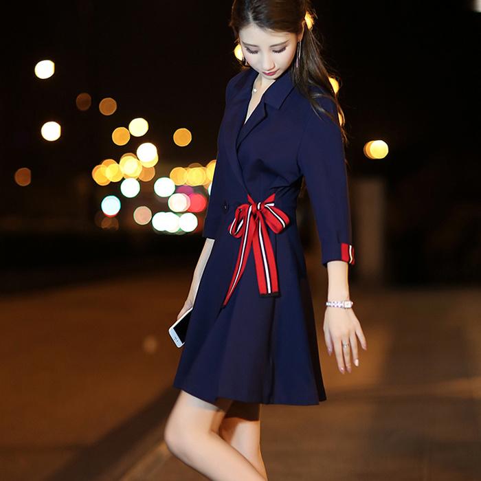 【B296】ワンピース✨【Sサイズ~2XL】ワンピース2017秋新型韓版女装セレブな気質修身腰顕スリムモデルマキシ