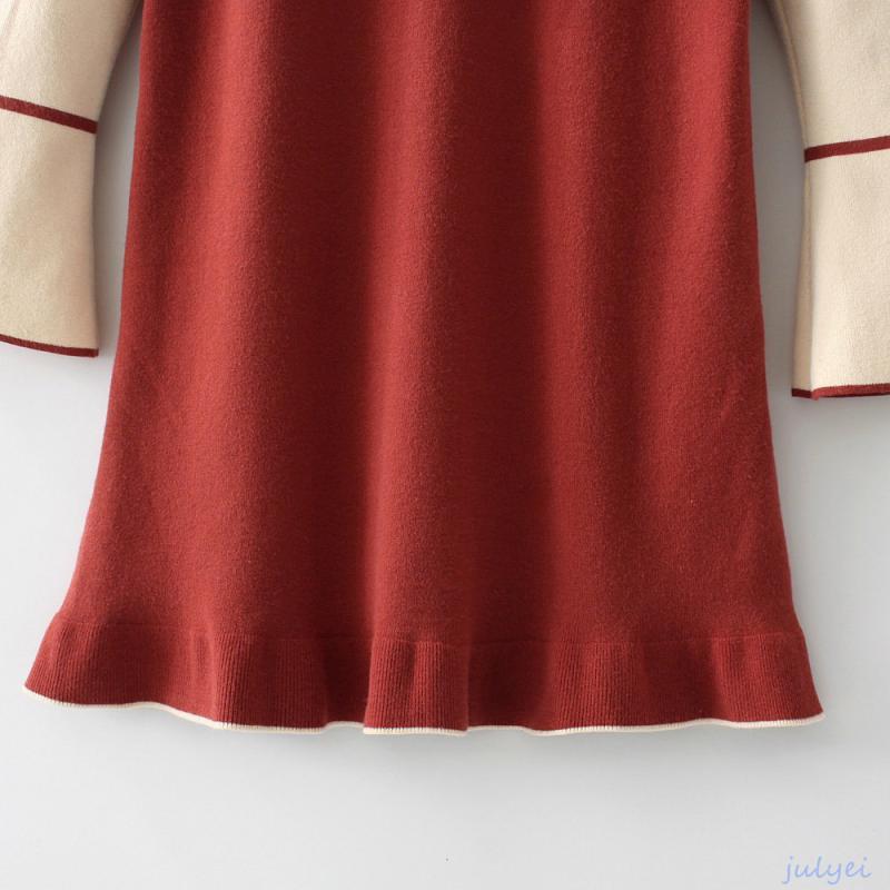 欧米風 2017秋レディース 配色ニットワンピース バルーン袖 フレアー袖 ゆったり長袖 ミニワンピース ブルー、レッド