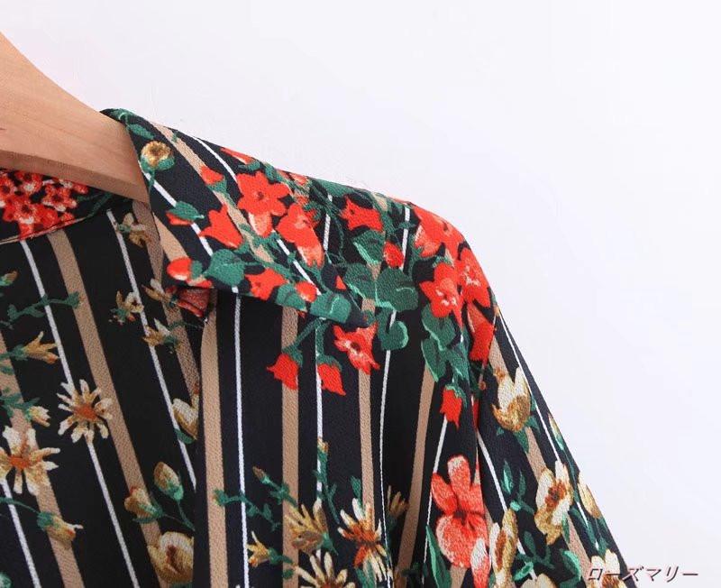 【ローズマリー】欧米風の秋女装ストライプ花刺繍V型襟長袖ワンピースベルト腰着やせでロングスカート スイート 花柄 ストライプ  ベーシック 大人気 -QQ1769
