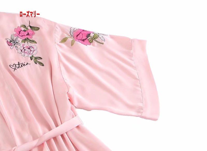 【ローズマリー】中国風サテン牡丹刺繍パジャマ睡裙 ワンピース スイート 花柄  ベーシック 刺繍レース ヴィンテージ調-R1413