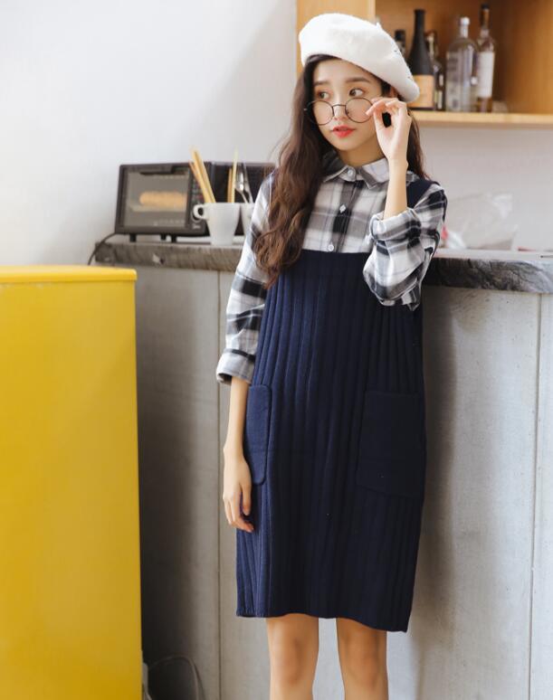 [55555SHOP]ノースリーブニットワンピース❤ロングスカート韓国風人気商品 フレアスカートが可愛い