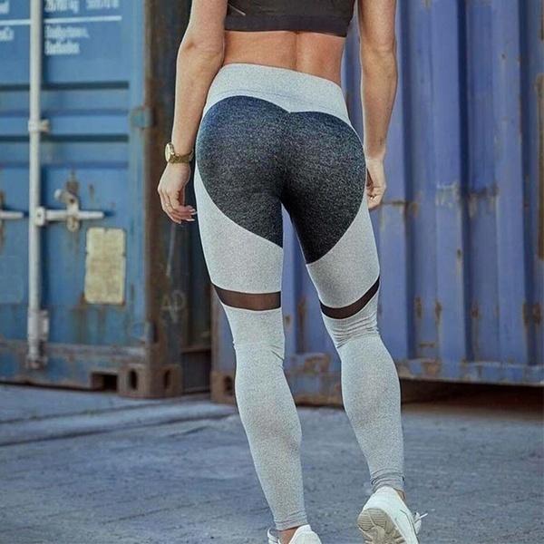 新しいハートパターンのメッシュスプライスヨガレギング原宿フィットネス衣類スポーツウェア弾性プッシュアップレッグ