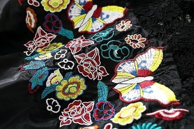ワンピース レディース ミニ ショート丈 5分袖 春夏 夏 レース 刺繍 チュール ワンピ ブラック 黒