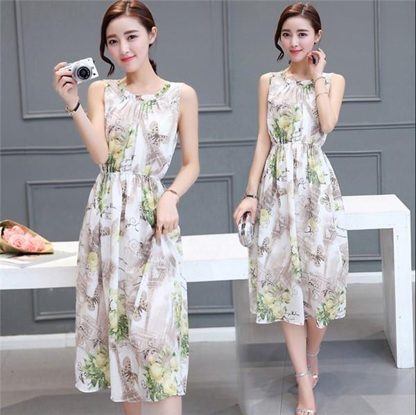 レディースワンピース 韓国無地 スリム 韓国のファッション  ノースリーブシフォンワンピース 上品 ロングスカート  ハイウエストワンピース  プリントワンピース  ハイセンス 着心地いい おしゃれ