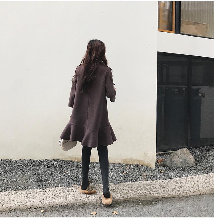 ワンピース レディース 冬物 厚手 フリル裾 スカラップ裾 ミディアム丈 9分袖 ゆったり プルオーバー 膝上 無地 シンプル オシャレ 韓国ファッション 可愛い エレガント 質感良い