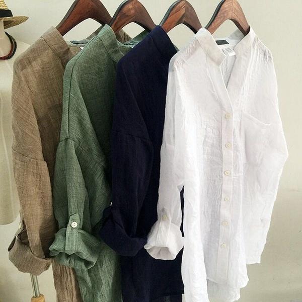 夏レディース女性リネンTシャツロングスリーブブラウスカジュアルシャツトップスホット