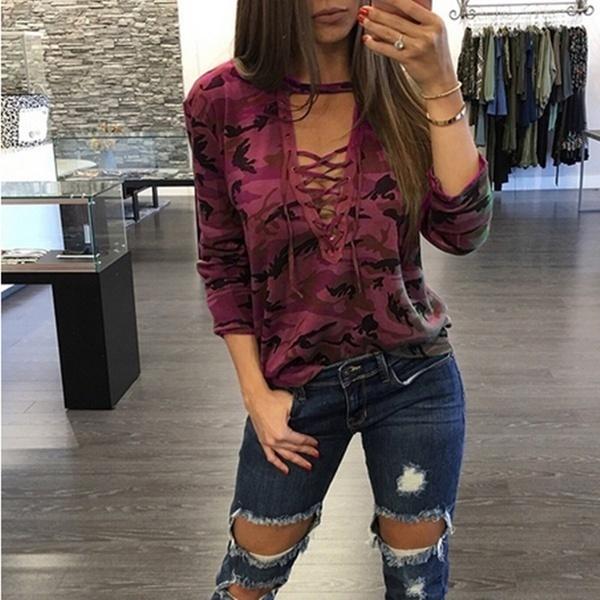 2017レディースファッションストラップローカットプリントプルオーバーロング/ショートスリーブカモフラージュTシャツ(8色S-