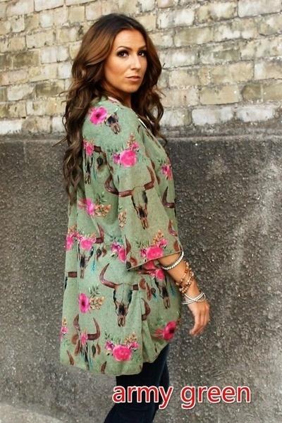 女性ファッションカジュアル花牛スカルプリント3/4袖カーディガン着物シャツトップス(サイズ:s-5xl)