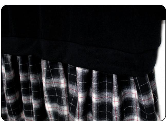 ★送料無料★チェック柄 フェイクレイヤード ワンピース[レディース] 韓国ファッション ワンピース バッグ リュック パーカー コート アウター カーディガン ハロウィン セットアップ トレーナー