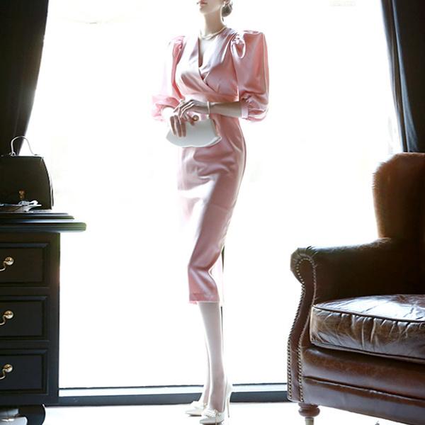「DINT」 ★送料無料★D3425♥ラグジュアリーオフィスルック♥働く女子のお洒落なオフィススタイル提案!!パフラップワンピース
