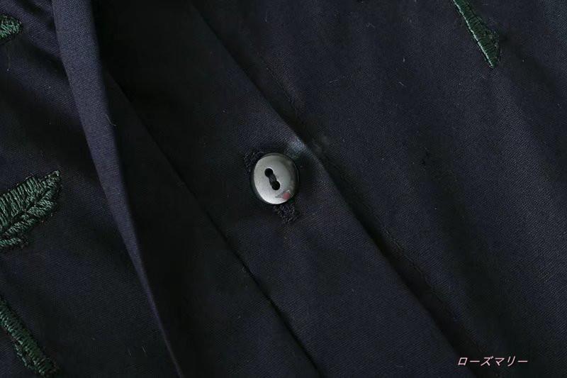 【ローズマリー】秋服、欧米風花刺繍シャツ式ワンピースゆったり長袖弾力袖口暗めスカート スイート 花柄 ヴィンテージ調  ベーシック かわいい-QQ2122