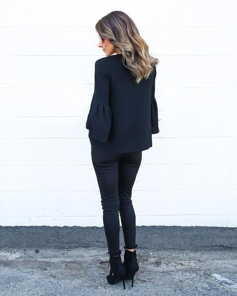 ファッションレディースカジュアルパフスリーブシャツ
