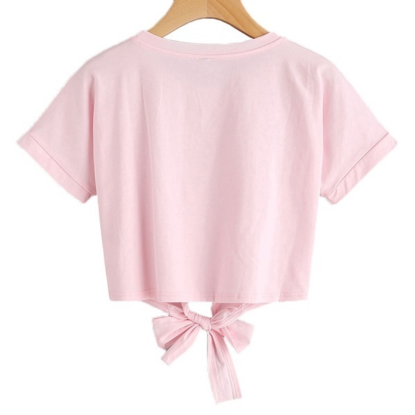 夏の女性のトップスラウンドネックローズ刺繍ストラップショートセクション半袖TシャツルーズTシャツ