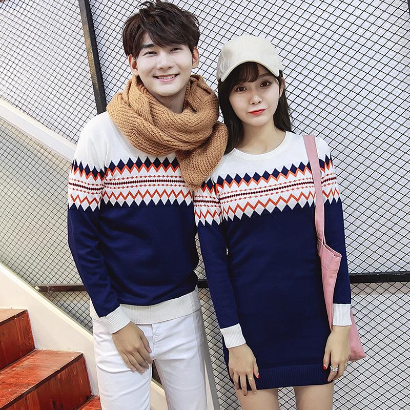 2カーラー、ニットセーター 女の子サイズS~XL 男の子サイズM~XXL ニット恋人セーター 韓国ファッション 春秋 薄い ファッション レジャー カップル