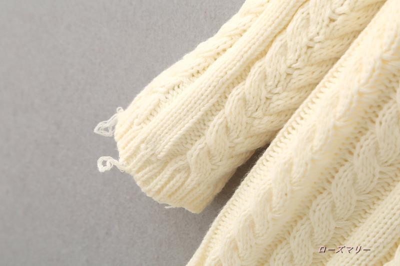 【ローズマリー】2017秋冬新品chic無地ツイストでロングスカートセーター毛織ワンピース セーターのワンピース 長袖ニットワンピース  ベーシック 大人気-QQ3641