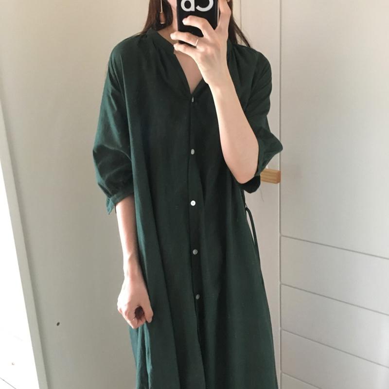 【RE】復古文芸範しわけだるい女初秋新型シャツワンピースマキシワンピース 韓国ファッション 高品質 大人気-SS525
