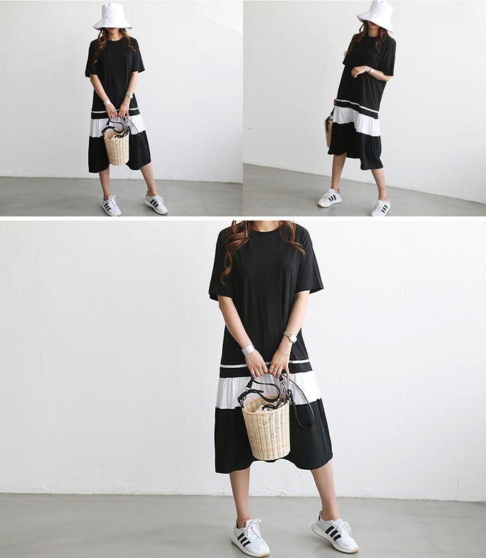 NANING9(ナンニング)バイカラーフレアワンピース【5/19up_go】韓国 韓国ファッション ワンピース フレア スカート 半
