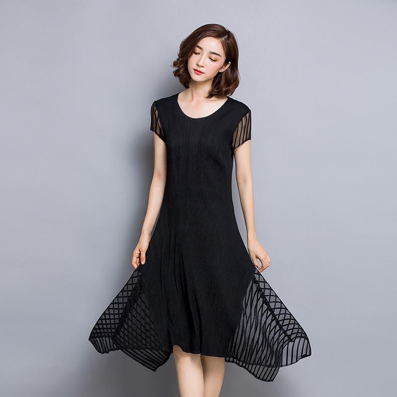 半袖メッシュ切り替えワンピース不規則の裾 2カラーフリーサイズ