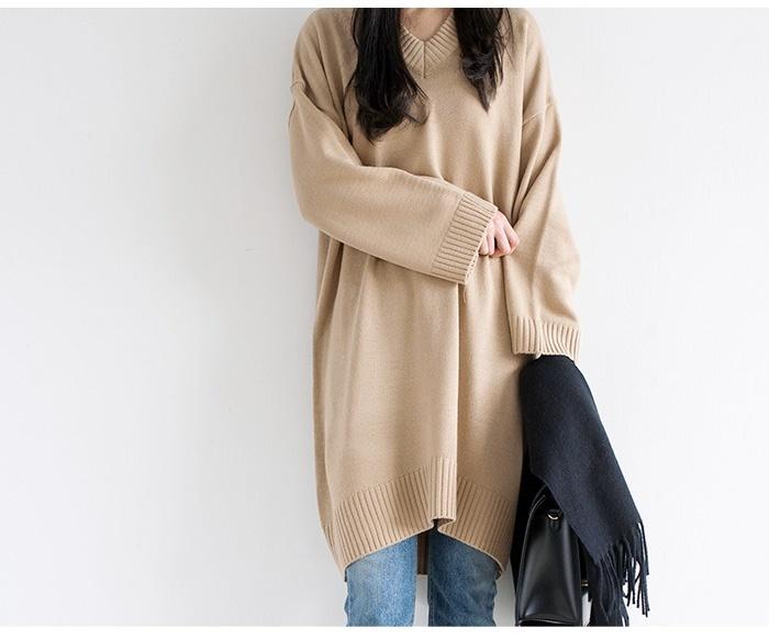 韓国ファッション Vネックニットワンピース【メール便不可】