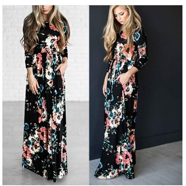 花のドレス夏の女性は、ポーズセクシーなローズカジュアルプリーツレディースプリントローズドレスを印刷