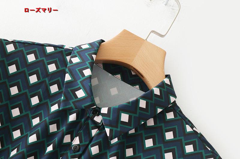 【ローズマリー】新型幾何柄プリントに長いデザイン長袖着やせシャツ式ワンピース ヴィンテージ調  ベーシック 長袖ワンピース フィットスタイル-QQ4339