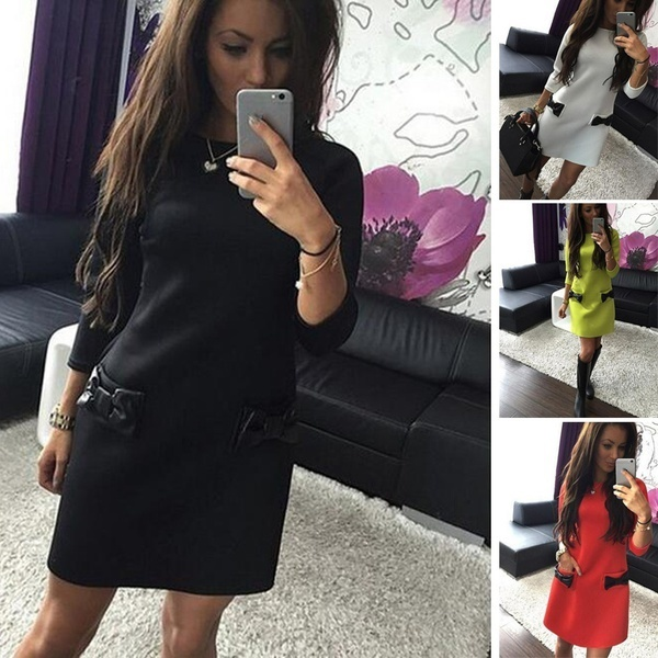 ファッション女性の弓のタイドレスOネックロングスリーブドレスパッケージヒップミニスカート