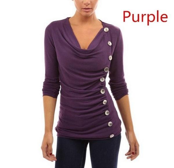 新しいファッション女性スリムシングルブレストベーシックTシャツ秋の純粋なカラーコットンのトップス