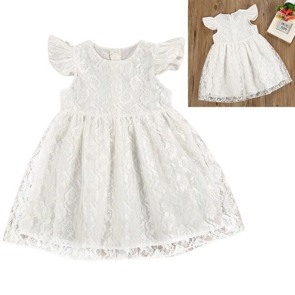 ガールズかわいいフライスリーブ刺繍レースショートスリーブプロパーティーホワイトプリンセスドレス