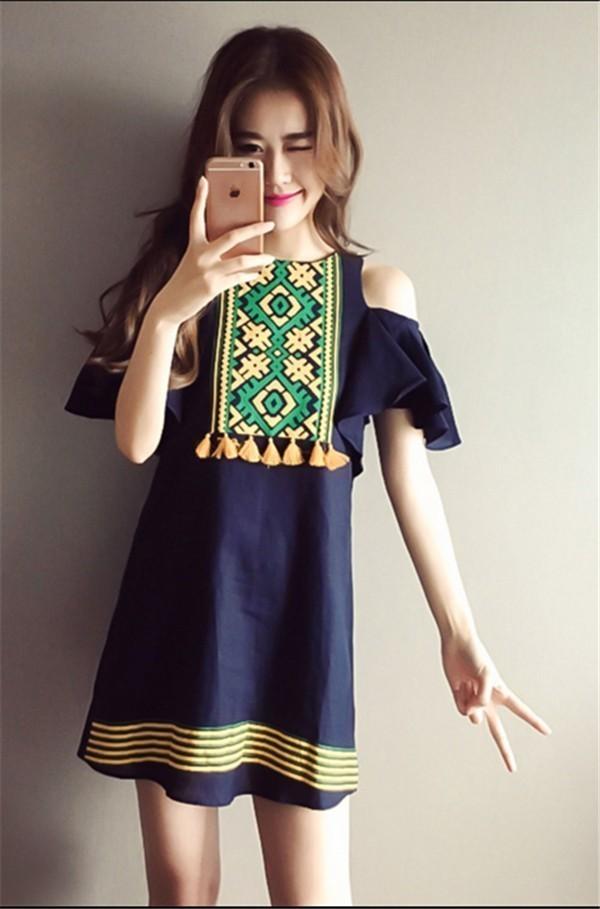 レディースワンピース 韓国無地 スリム 韓国のファッション 上品  学院?  麻綿ベアトップワンピース プリントワンピース ボヘミア ハイセンス 着心地いい おしゃれ 夏 スリム セール★ レディースワンピース